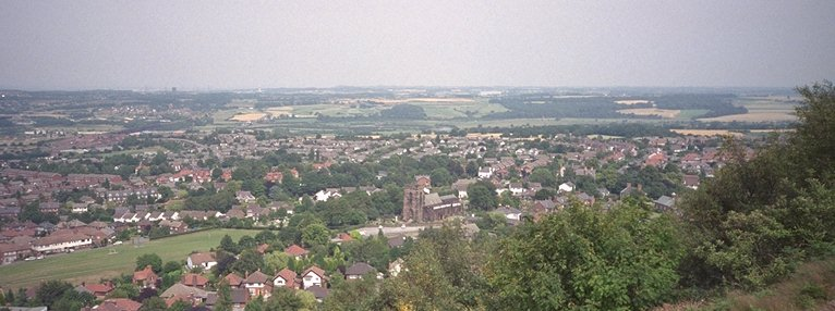 Frodsham from the hilltop looking over the parish church