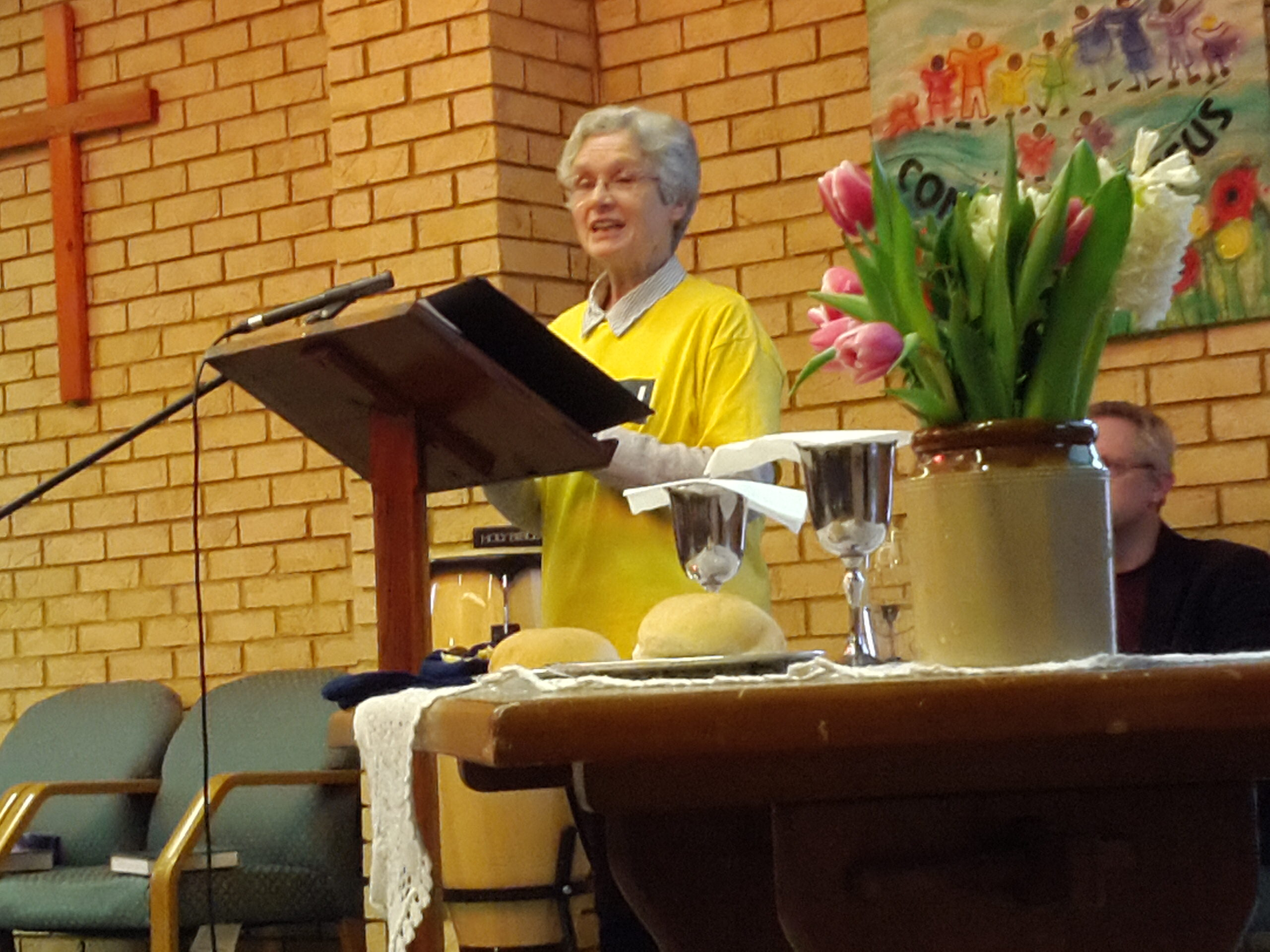 Ruth Basden speaking at Main Street Community Church on 21 January 2018.