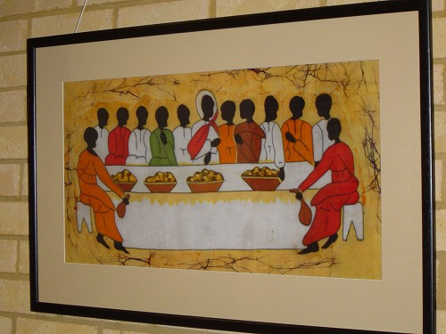Jesus and his disciples seated at the table for Passover.